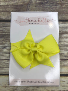 Neon yellow pinwheel bow headband