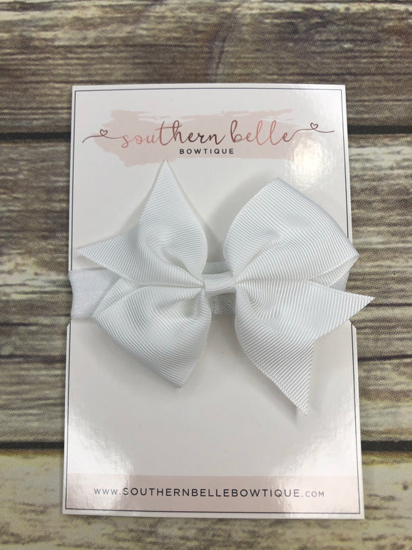 White pinwheel bow headband
