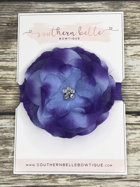 Purple and blue silk flower headband