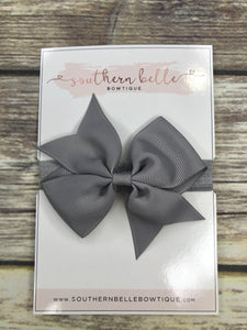 Dark gray pinwheel bow headband