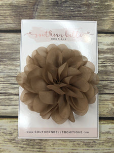 Tan petal flower on white lace headband