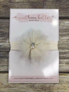 Ivory tulle and pearl baby headband