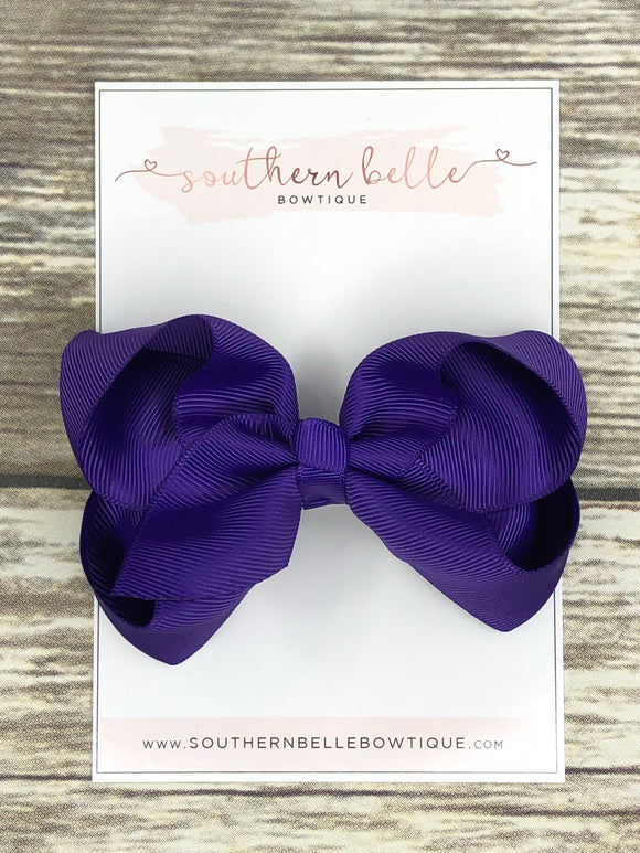 Purple boutique hair bow clip