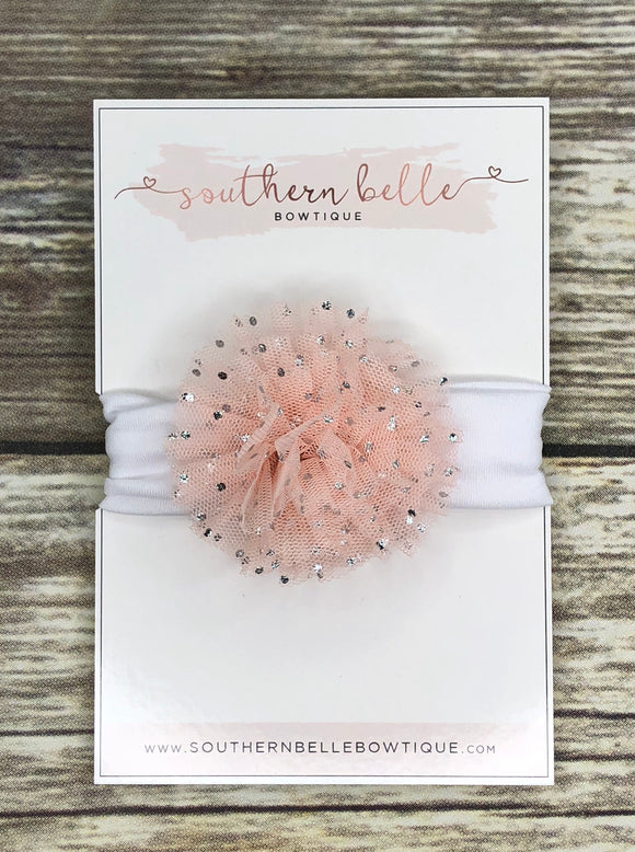 Peach tulle baby headband