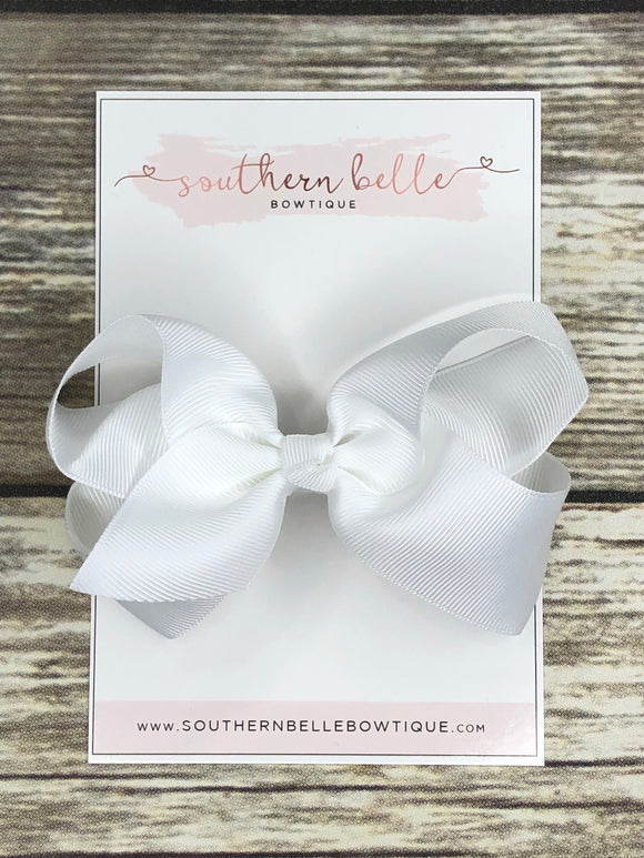 White boutique hair bow clip