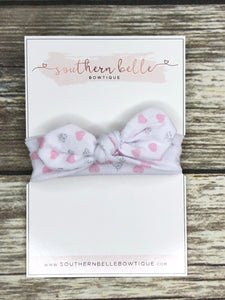 Pink grey heart knot headband