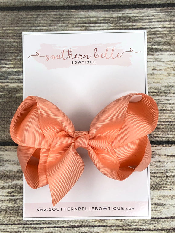Peach boutique hair bow clip