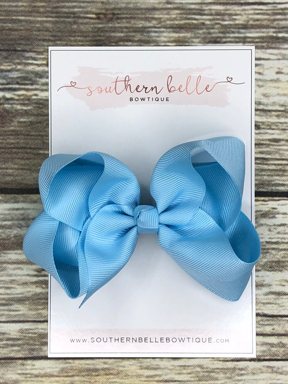 Light blue boutique hair bow clip