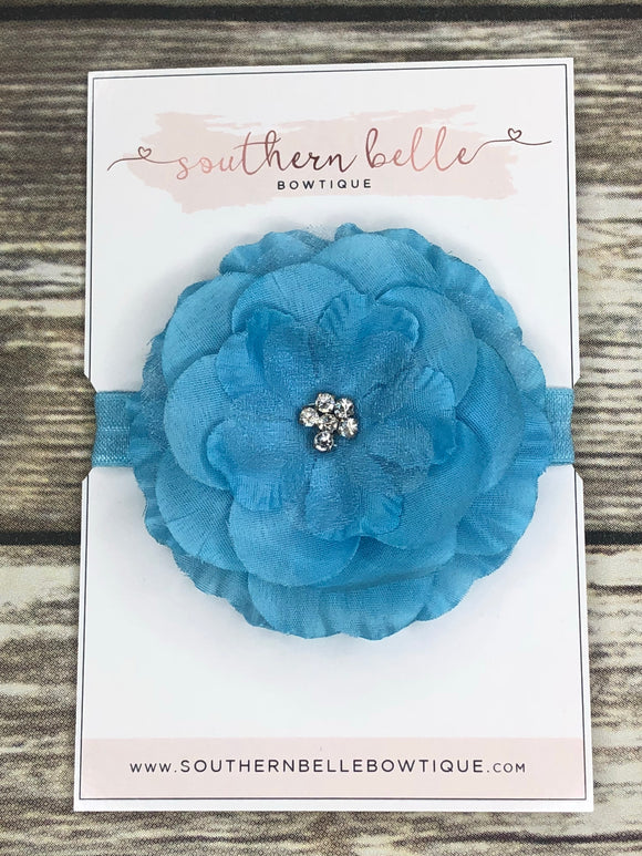 Blue silk flower headband