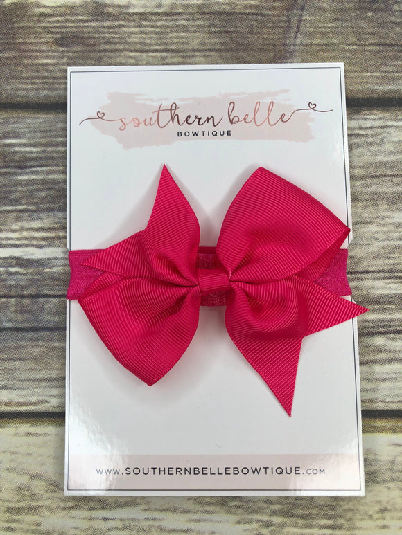 Hot pink pinwheel bow headband