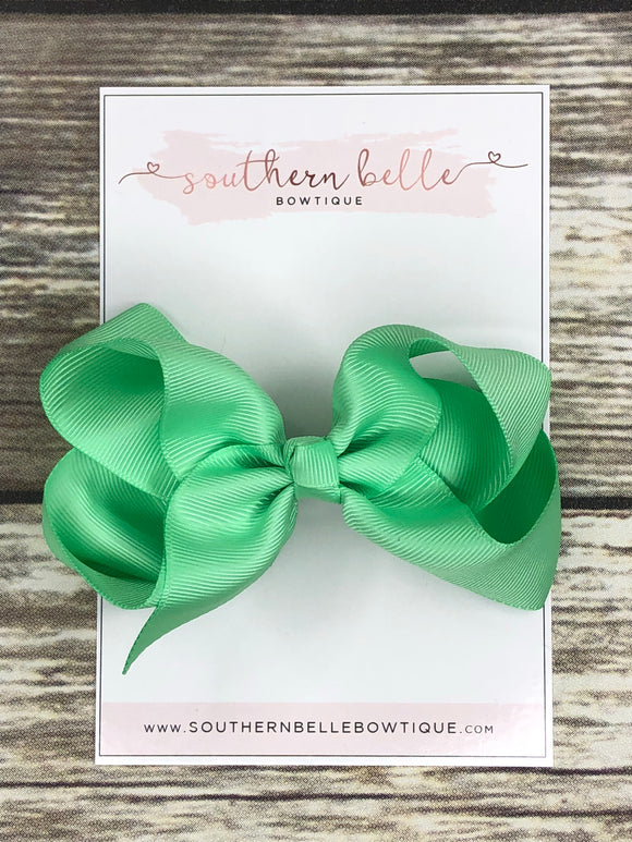 Mint green boutique hair bow clip