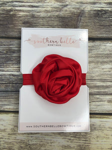 Red rolled satin rose headband