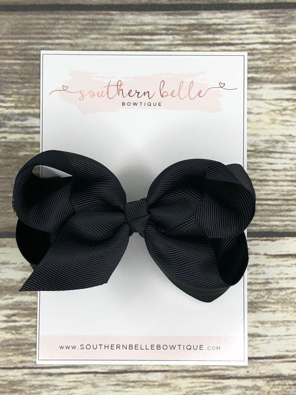 Black boutique hair bow clip