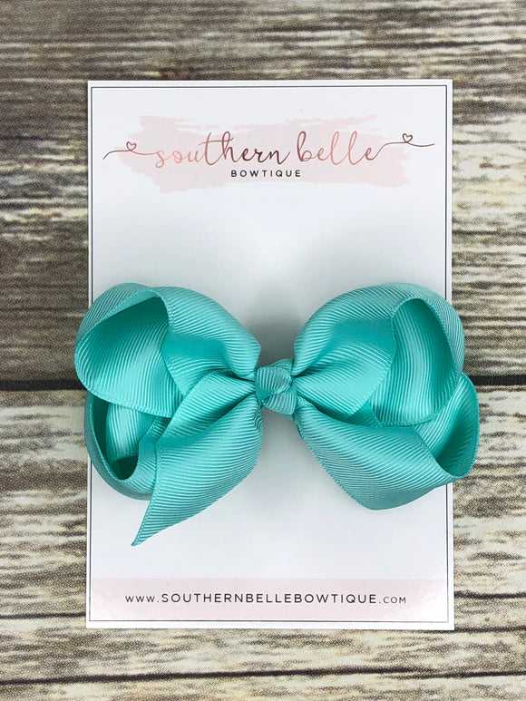 Aqua boutique hair bow clip