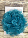 Large teal and pink lace chiffon headband