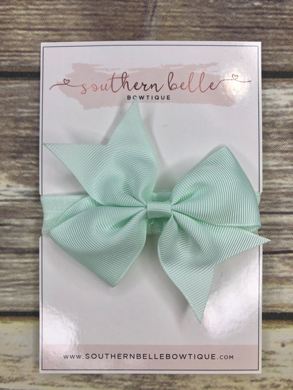Mint green pinwheel bow headband