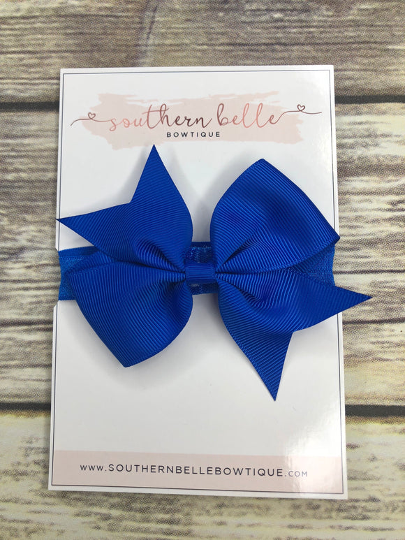 Cobalt blue pinwheel bow headband