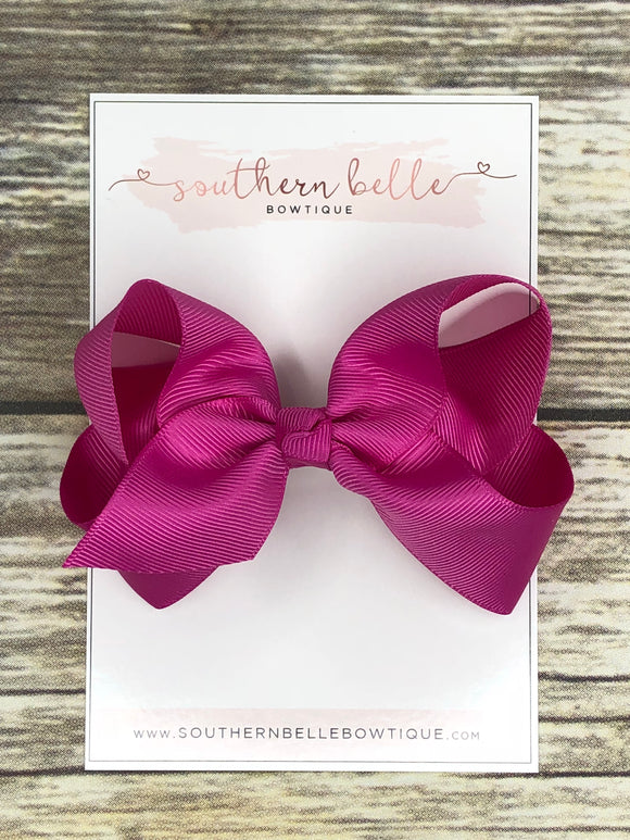 Fuchsia boutique hair bow clip