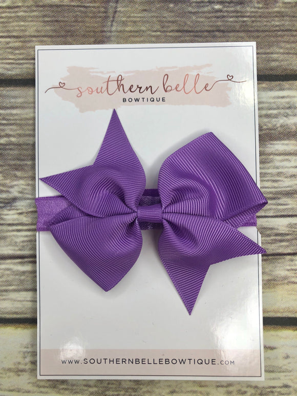 Purple pinwheel bow headband