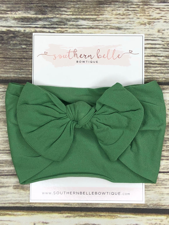 Forest green knot bow headband