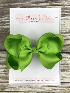 Lime green boutique hair bow clip