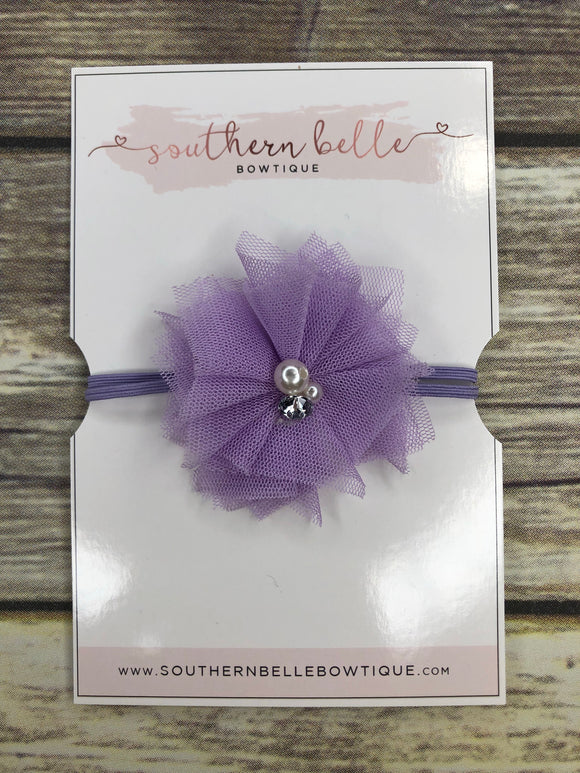 Lavender tulle and pearl baby headband
