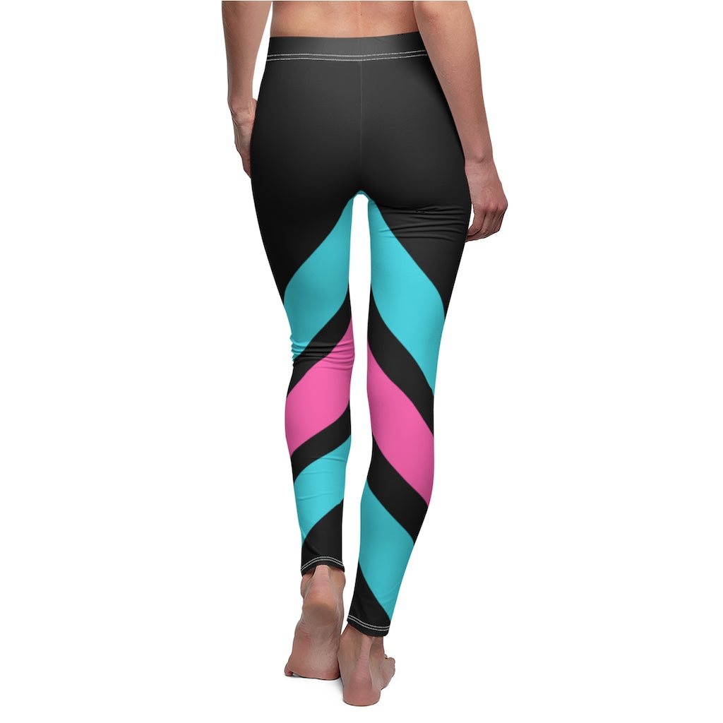 Pink & Teal Stripe Womens Leggings