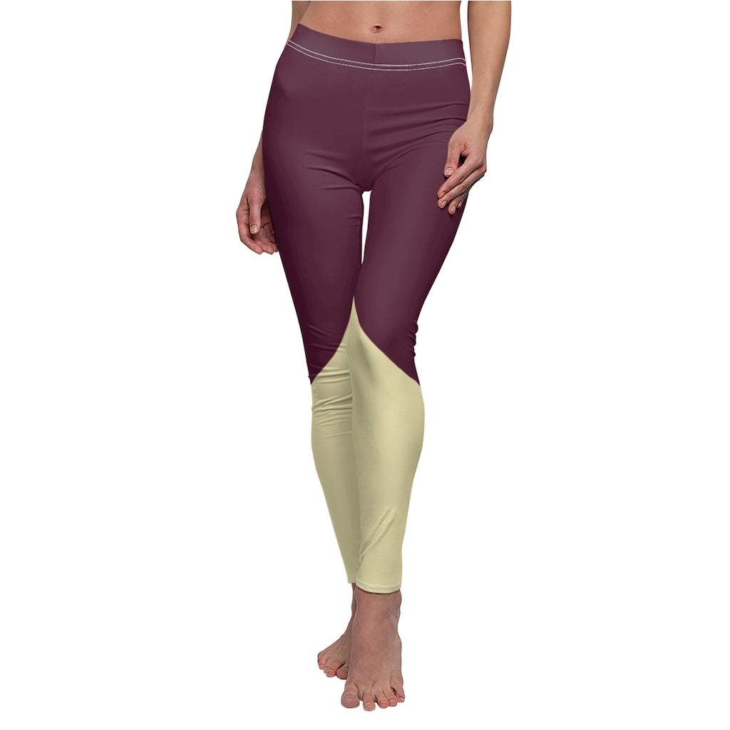 Mystic Mroon Cream Womens Leggings