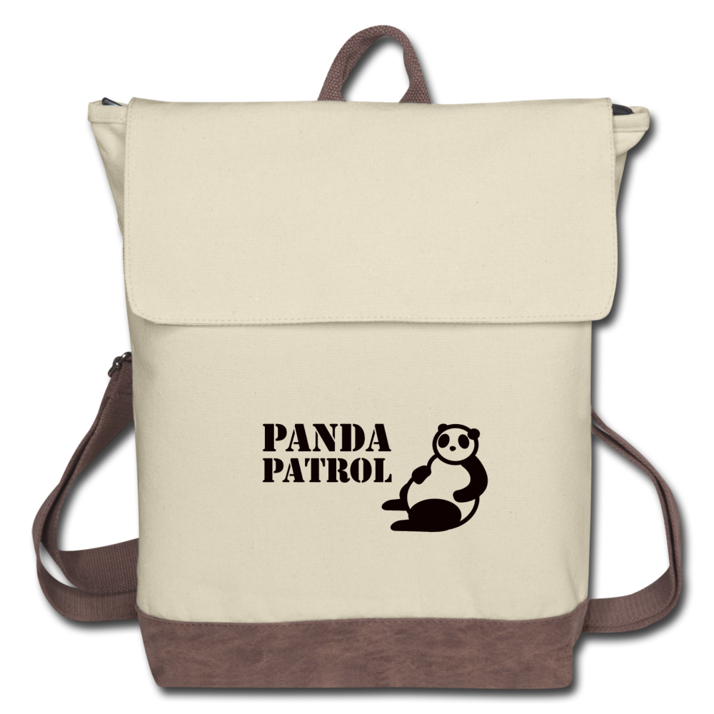 Panda Patrol Canvas Backpack - ivory/brown