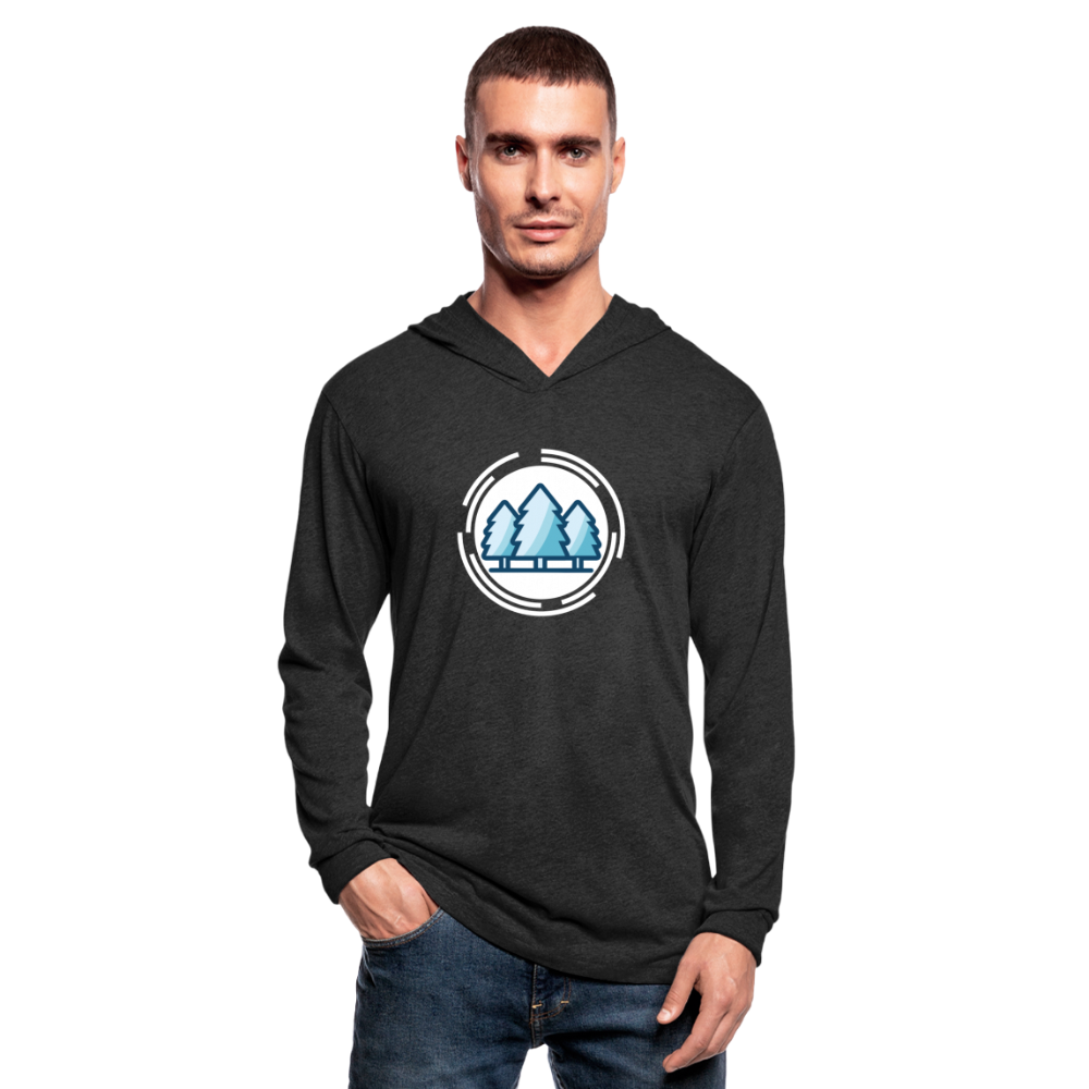 Mountain Blue Unisex Tri-Blend Hoodie Shirt - heather black