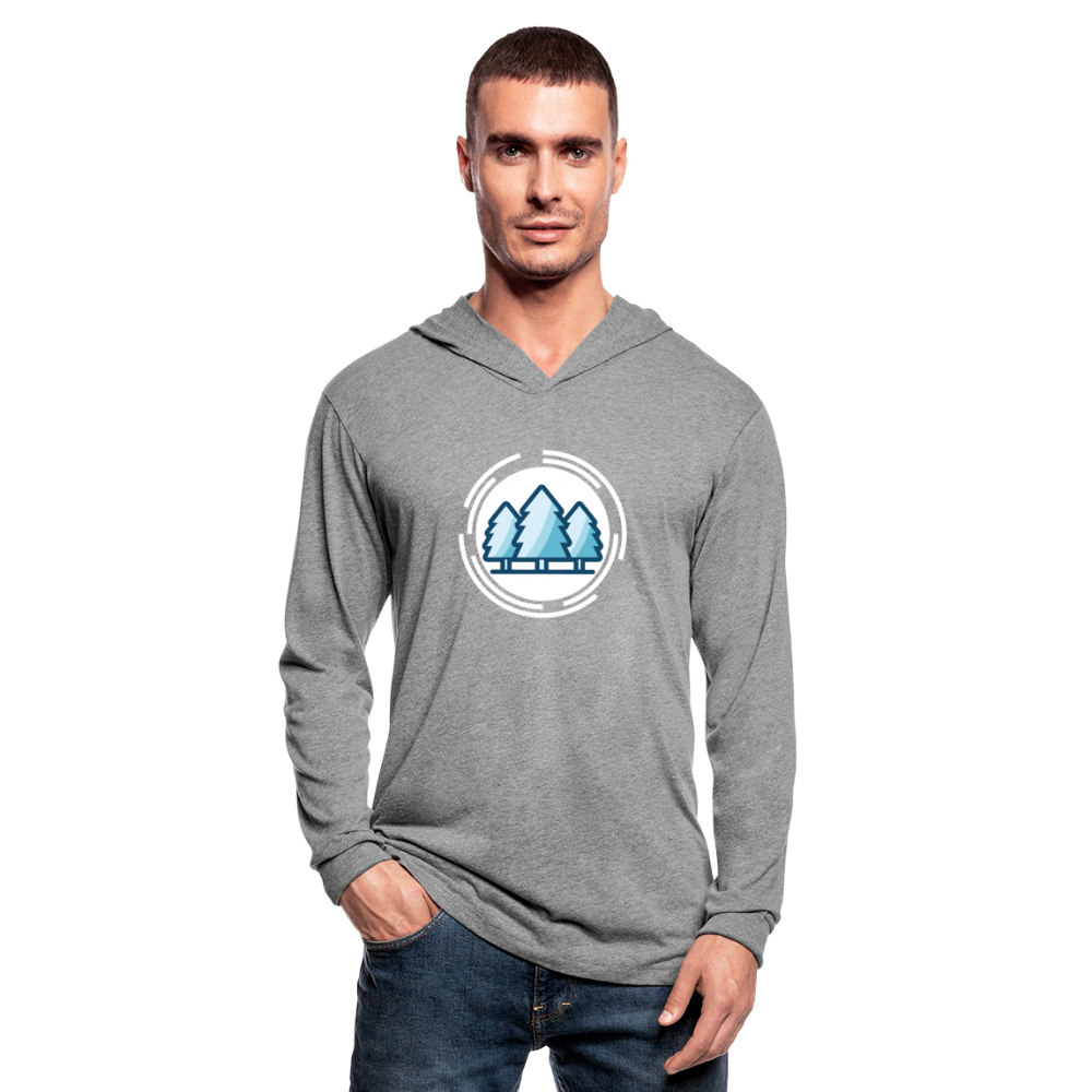 Mountain Blue Unisex Tri-Blend Hoodie Shirt - heather gray