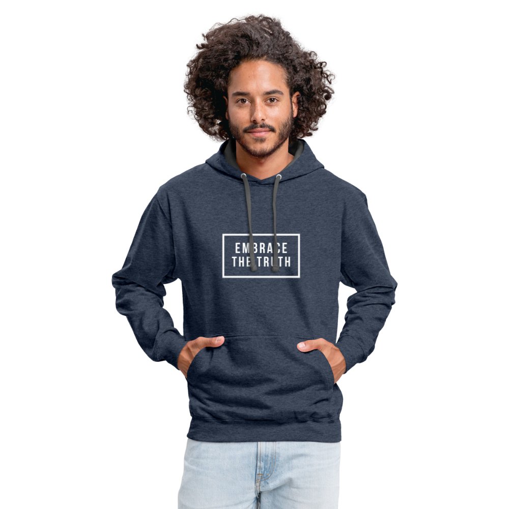 Embrace the truth Contrast Hoodie - indigo heather/asphalt