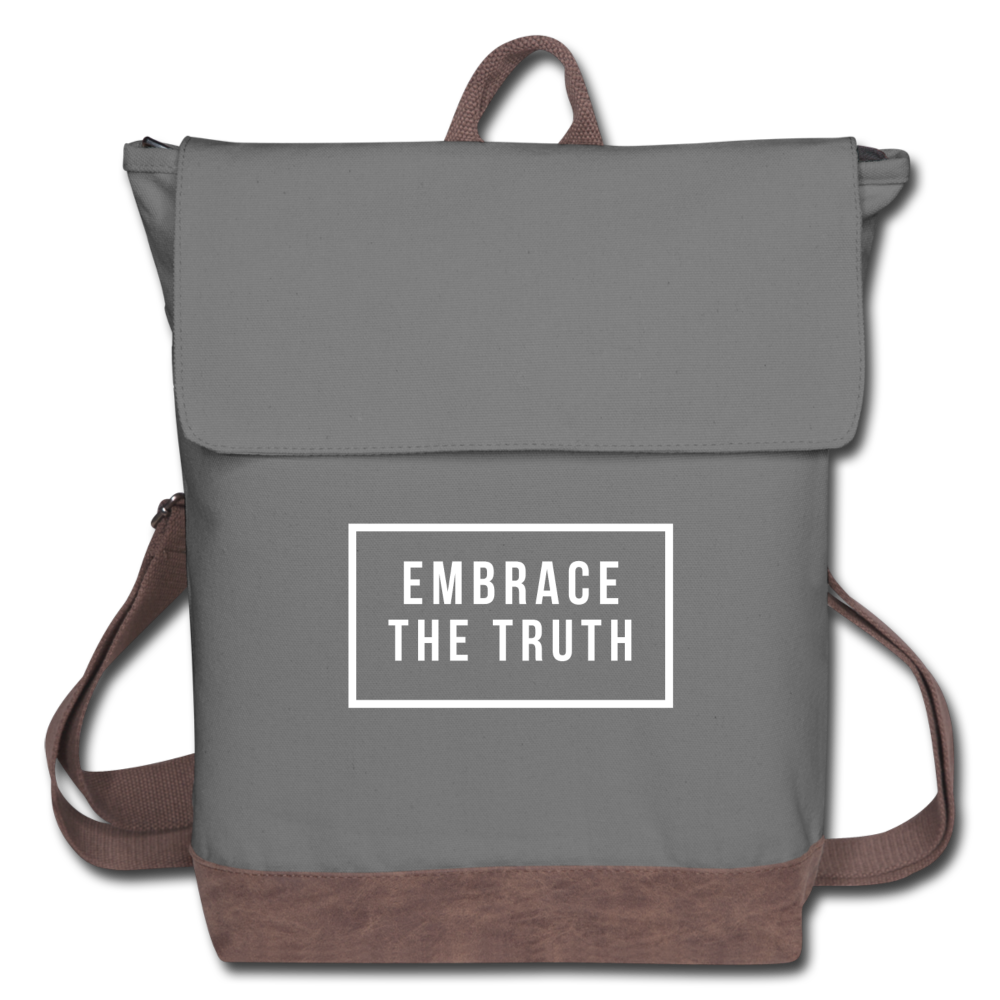 Embrace the truth Canvas Backpack - gray/brown