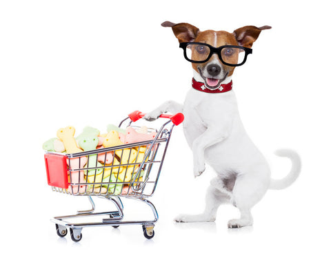 dog pushing cart