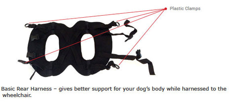 dog wheelchair basic rear harness