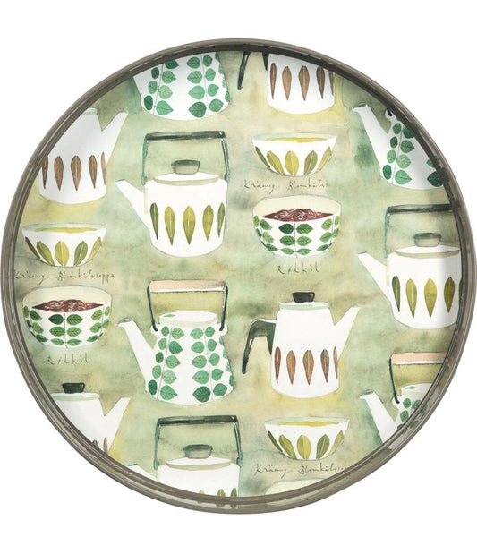 "Teapots Green 15"" Round Lacquer Serving Tray"