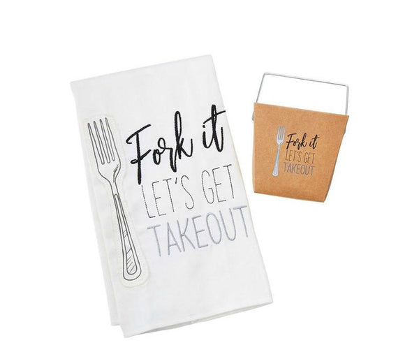 Fork it let/'s get takeout embroidered flour sack towel