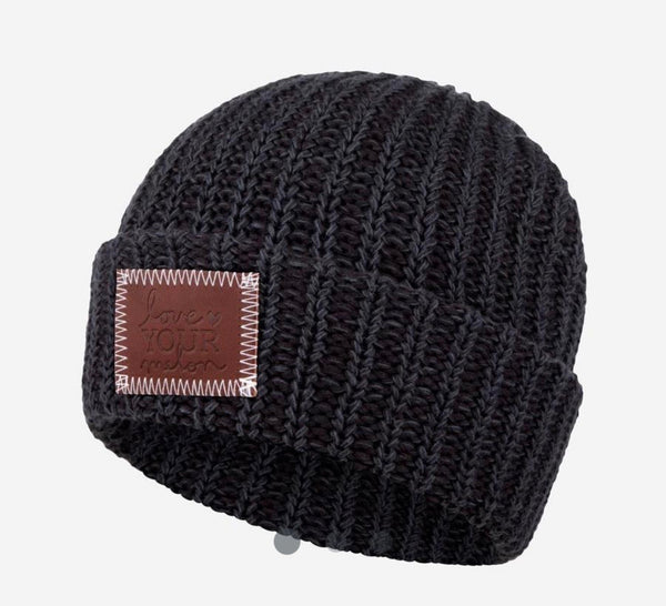 Black Leather Patched Cuffed Beanie