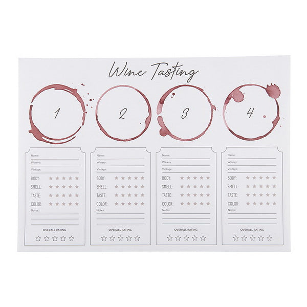 Wine Tasting Place Mat (pack of 24 sheets)