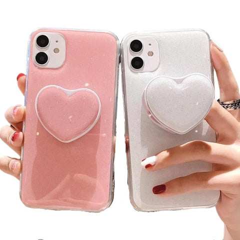 Shiny Feel Large Heart PopSocket Phone Case For iPhone - Case Monkey