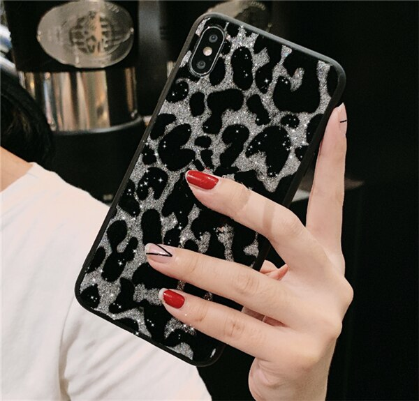 Silver Glitter Leopard Phone Case For Samsung - Case Monkey