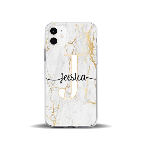 Personalised Initial & Name Marble Phone Case - Case Monkey