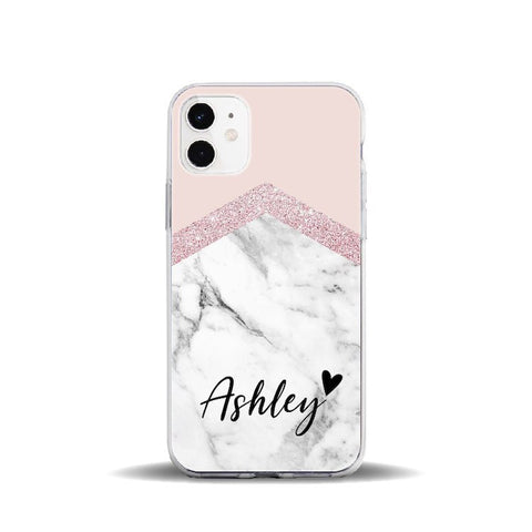 Personalised Pink & White Marble Effect Phone Case - Case Monkey