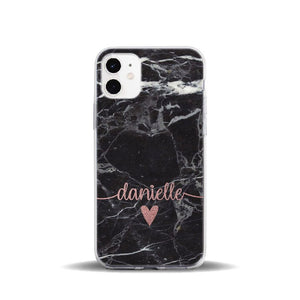 Personalised Black Marble Silicone Phone Cover - Case Monkey