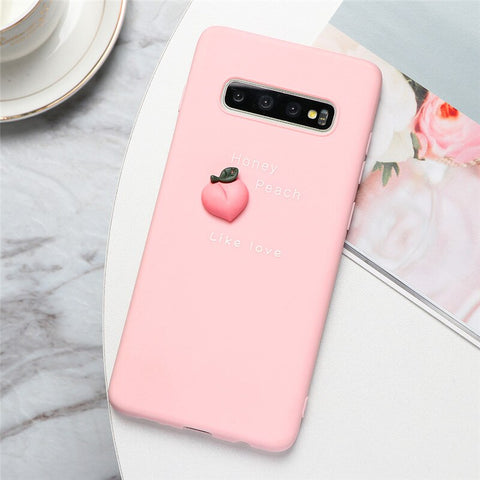 3D Fruit Silicone Phone Case in Pink with a Peach - Case Monkey