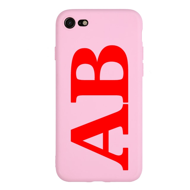 Personalised Initial Phone Case Pink & Red For iPhone - Case Monkey