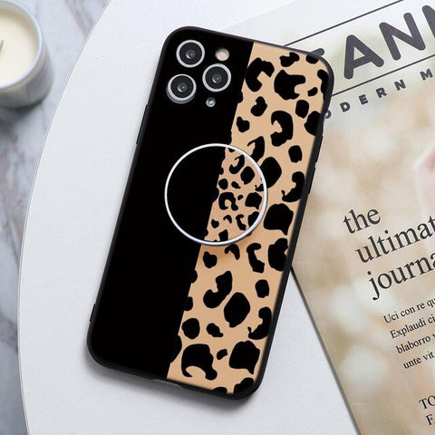 Half Black & Half Leopard print Stand Phone Case For Huawei - Case Monkey