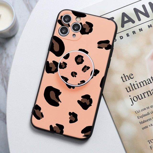 Light Pink Leopard Print Stand Phone Case For Huawei - Case Monkey