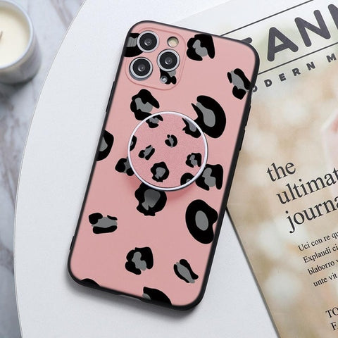 Pink Leopard Print Stand Phone Case For Huawei - Case Monkey