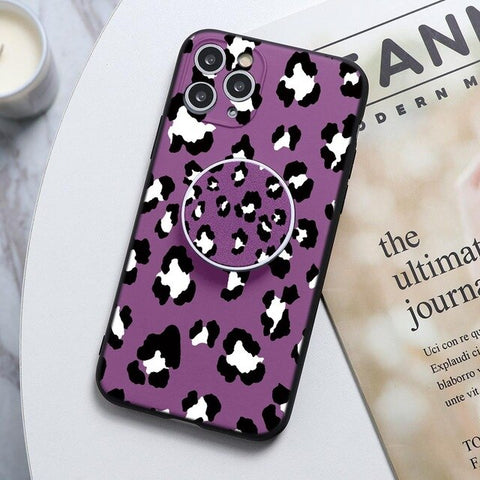 Purple Leopard Print Stand Phone Case For Huawei - Case Monkey